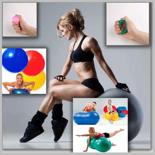 Гимнастические массажные мячи и эспандеры